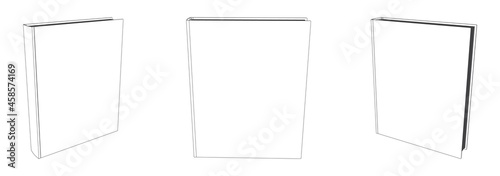 Vector book mockup with blank cover, template illustration