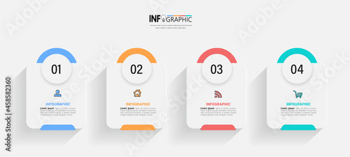 Fotografie, Obraz Infographics design template, business concept with 4 steps or options, can be used for workflow layout, diagram, annual report, web design