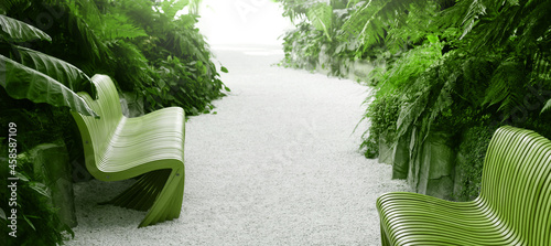 Fotografia Park alley with benches, tropical plants and trees.