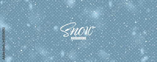 Foto Realistic falling snow with snowflakes