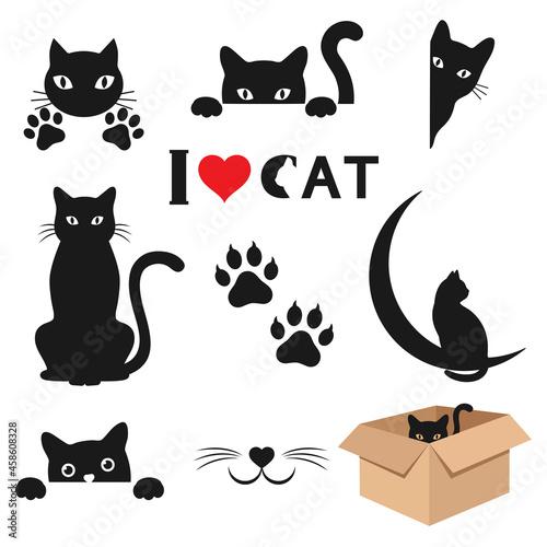 Fotografiet Illustration set of diverse black cats on a white background