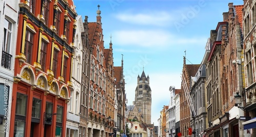 Photo Bruges historic gable along the Steenstraat and the famous Sint-Salvatorskathedr