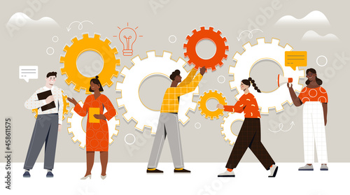 Obraz na plátně Male and female characters are assembling cogwheels together at work