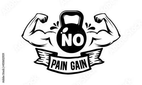 Canvas Print No pain gain, Workout and Fitness Motivation Quote, Creative Strong Sport Vector