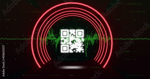 QR code scanner with neon elements against green light trails