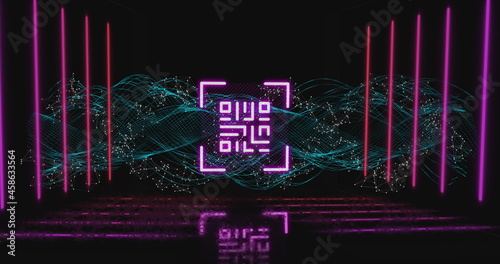 QR code scanner with neon elements against digital wave