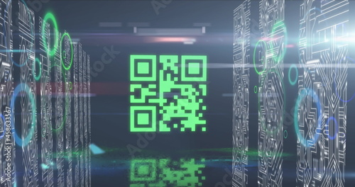 QR code scanner with neon elements against screen of microprocessor connections