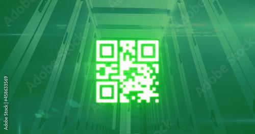 QR code scanner against data processing over empty server room