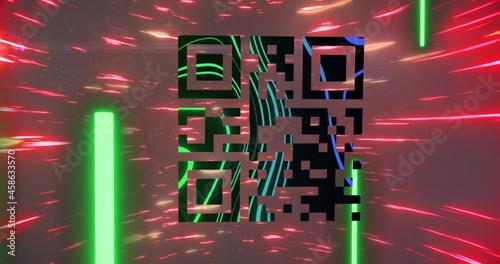 QR code scanner against spinning light trails