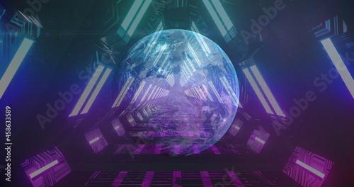 Globe against glowing tunnel