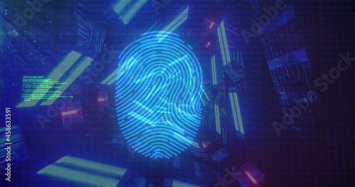 Bio metric fingerprint scanner and data processing against glowing tunnel