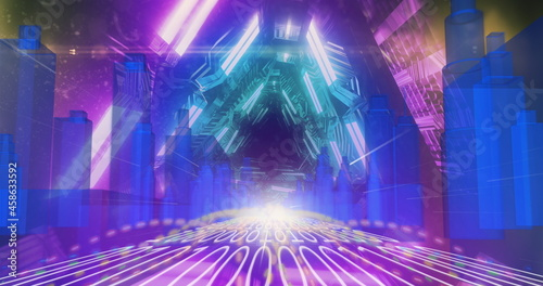 3D city model over binary coding against glowing tunnel