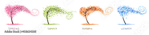 Foto Nature Four stylized trees representing different seasons spring, summer, autumn, winter