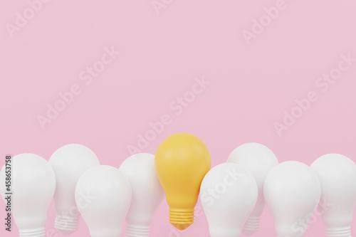 Obraz na plátně Light bulb yellow outstanding among lightbulb group