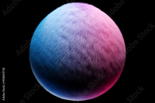 3d illustration blue pink fluffy ball on black  isolated background Fototapet