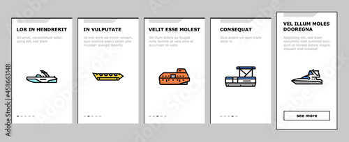 Tableau sur Toile Boat Water Transportation Types Onboarding Mobile App Page Screen Vector