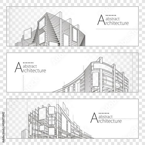 Fotografia 3D illustration linear drawing, Imagination Architecture urban building construction perspective design banner set