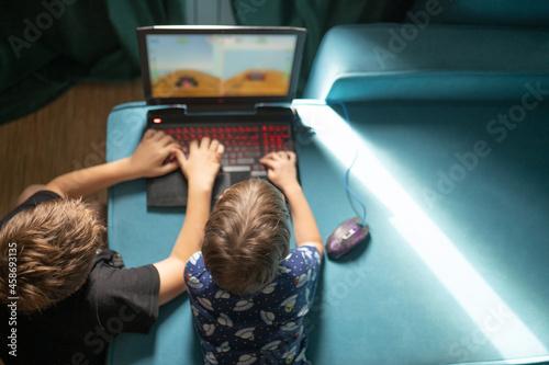 Fotografie, Obraz two boys playing on laptop on sofa