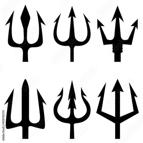 Obraz na plátne Set of the trident illustrations