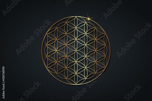 Canvastavla flower of life, gold spiritual mandala, Sacred Geometry