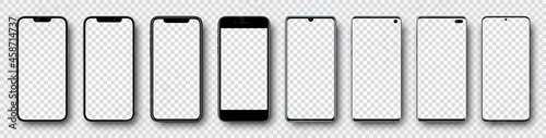 Wall mural Smartphone mockup collection. Mockup realistic models smartphone with shadow and blank screens for your design. Isolated on transparent background. Vector illustration .ai .eps