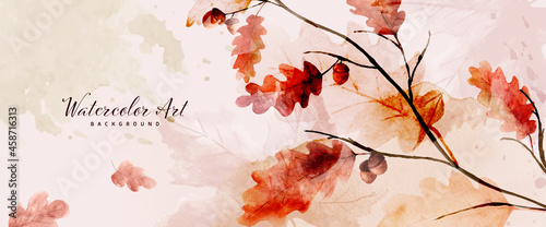 Watercolor autumn abstract background with oak and seasonal leaves