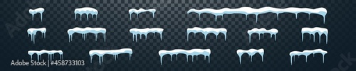 Fotografie, Obraz snowcap ice cap snowdrift with icicles template isolated vector set