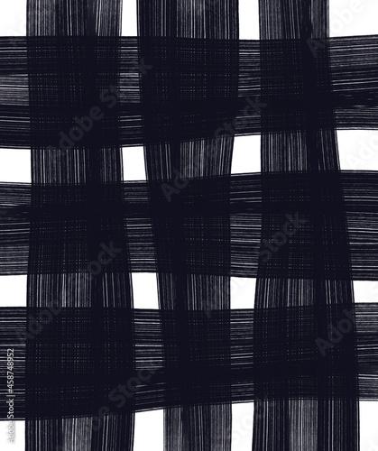 Krata biało czarna. Grafika cyfrowa. Wzór na tkaninę, ozdobny papier, okleinę.