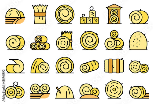 Canvas Print Bale of hay icons set outline vector