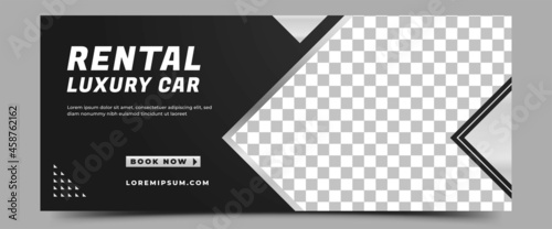 Car rental horizontal banner design template. Modern banner with place for the photo. Usable for banner, cover, header, and background.