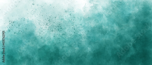 light sea blue green sky gradient watercolor background with clouds texture