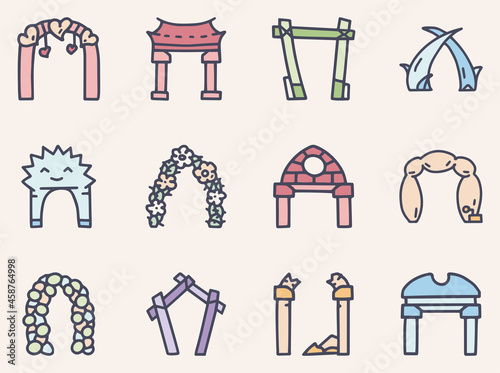 Valokuva Arches color vector doodle simple icon set
