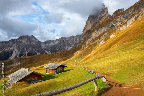 Fotografie, Obraz Beautiful panorama of Mount Seceda and Odle, surrounded by magnificent mountain