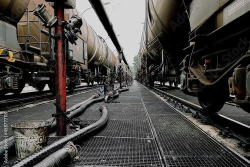 Fototapeta dirty oil transporting train at discharge