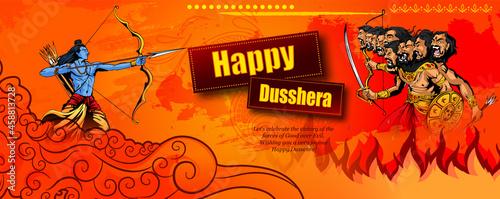 Obraz na plátně Greeting card of happy dusshera with bow and illustration of Lord Rama killing Ravana in Navratri Happy Dusshera festival of India(happy Vijayadashami)