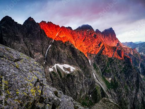 Sunrise in high Tatra Mountains