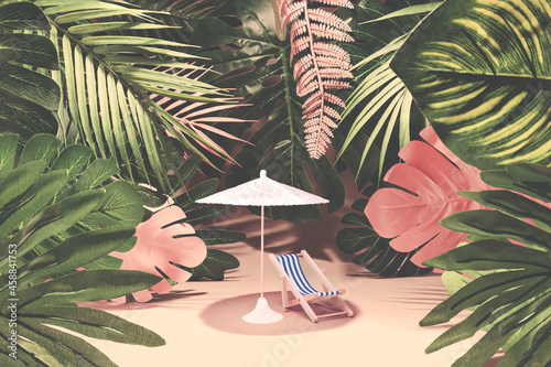 Exotic  garden, coconut palms, tropical leaves, deck chairs and parasol in a tropical garden near the sea Fotobehang