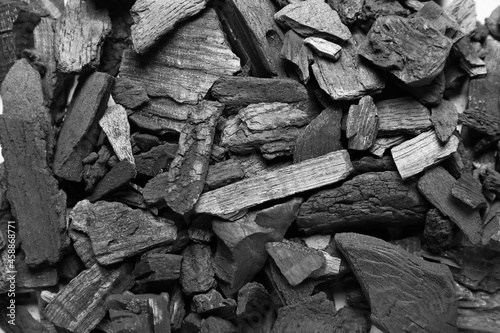 Foto Texture of char coal as background