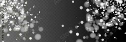 Photo Vector falling snow effect isolated on transparent background with blurred bokeh