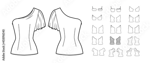 Fotografie, Obraz Set of one-shoulder tops, shirts, tanks, blouses technical fashion illustration with fitted oversized body, short sleeves, frills