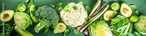 Foto Set of fresh green vegetables