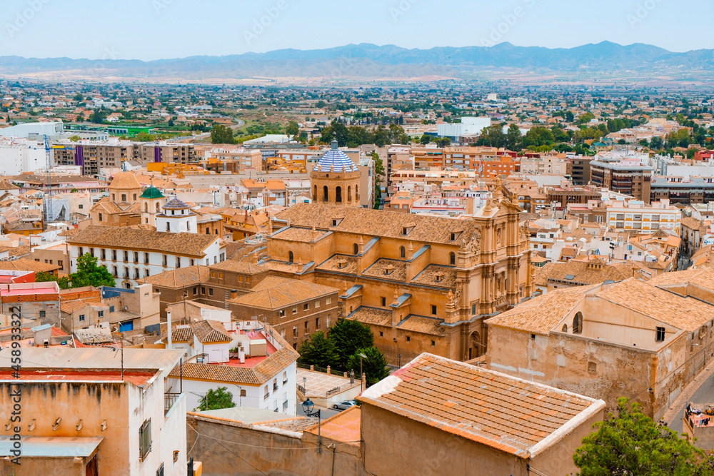 aerial view of the old town of Lorca, in Spain