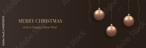 Canvas-taulu Merry Christmas and a Happy New Year, minimalist banner