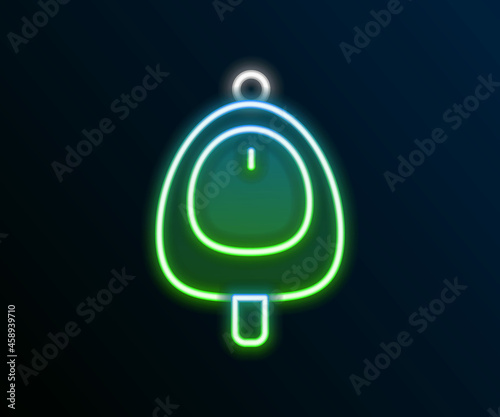 Canvas Print Glowing neon line Toilet urinal or pissoir icon isolated on black background