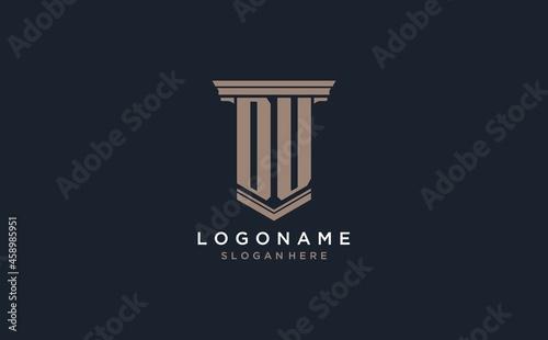 Fotografie, Obraz DU initial logo with pillar style, luxury law firm logo design ideas