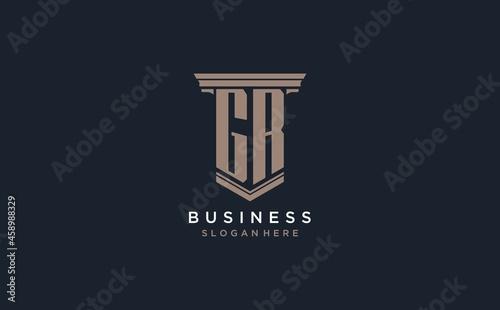 Fényképezés GR initial logo with pillar style, luxury law firm logo design ideas