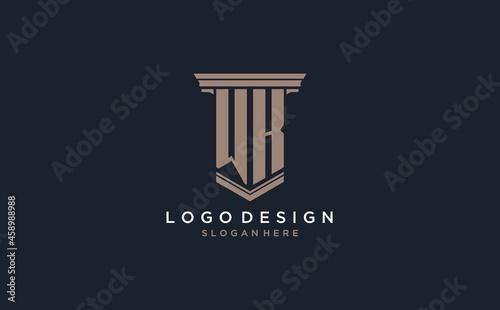 Fotografie, Obraz WK initial logo with pillar style, luxury law firm logo design ideas