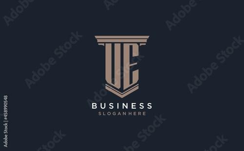 Fotografie, Obraz UE initial logo with pillar style, luxury law firm logo design ideas