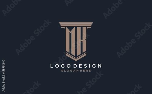 Fotografie, Obraz MK initial logo with pillar style, luxury law firm logo design ideas