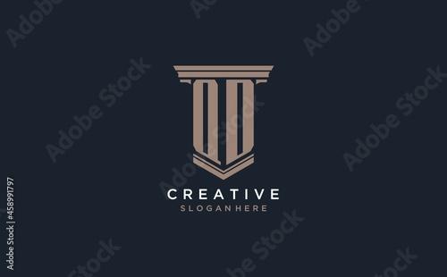 Obraz na plátně QD initial logo with pillar style, luxury law firm logo design ideas